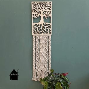 houten ornament macrame levensboom