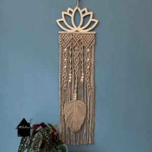 houten lotus bloem macrame
