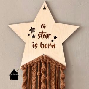 macrame houten ster
