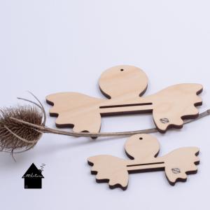 houten ornamenten macrame engeltjes