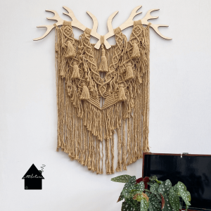 houten gewei ornament macrame